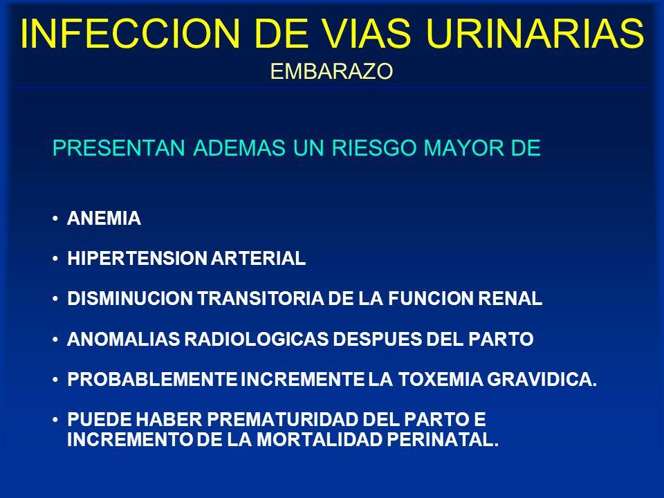 INFECCION DE VIAS URINARIAS EMBARAZO PRESENTAN ADEMAS UN RIESGO MAYOR DE ANEMIA HIPERTENSION ARTERIAL DISMINUCION TRANSITORIA DE LA FUNCION RENAL ANOM