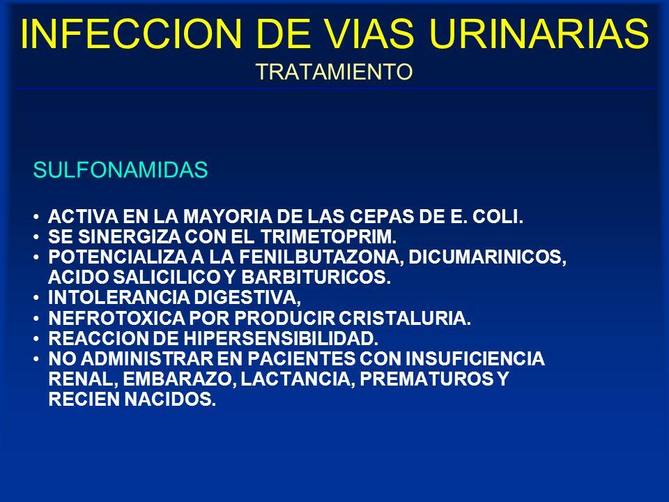 INFECCION DE VIAS URINARIAS TRATAMIENTO SULFONAMIDAS ACTIVA EN LA MAYORIA DE LAS CEPAS DE E. COLI. SE SINERGIZA CON EL TRIMETOPRIM. POTENCIALIZA A LA