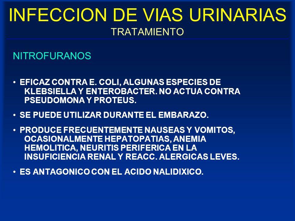 INFECCION DE VIAS URINARIAS TRATAMIENTO NITROFURANOS EFICAZ CONTRA E. COLI, ALGUNAS ESPECIES DE KLEBSIELLA Y ENTEROBACTER. NO ACTUA CONTRA PSEUDOMONA