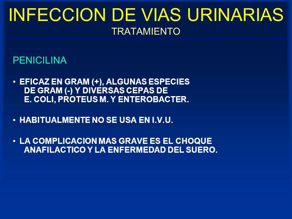INFECCION DE VIAS URINARIAS TRATAMIENTO PENICILINA EFICAZ EN GRAM (+), ALGUNAS ESPECIES DE GRAM (-) Y DIVERSAS CEPAS DE E. COLI, PROTEUS M. Y ENTEROBA