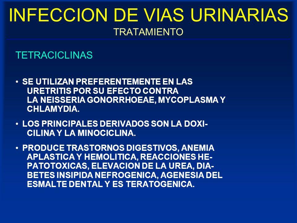 INFECCION DE VIAS URINARIAS TRATAMIENTO TETRACICLINAS SE UTILIZAN PREFERENTEMENTE EN LAS URETRITIS POR SU EFECTO CONTRA LA NEISSERIA GONORRHOEAE, MYCO