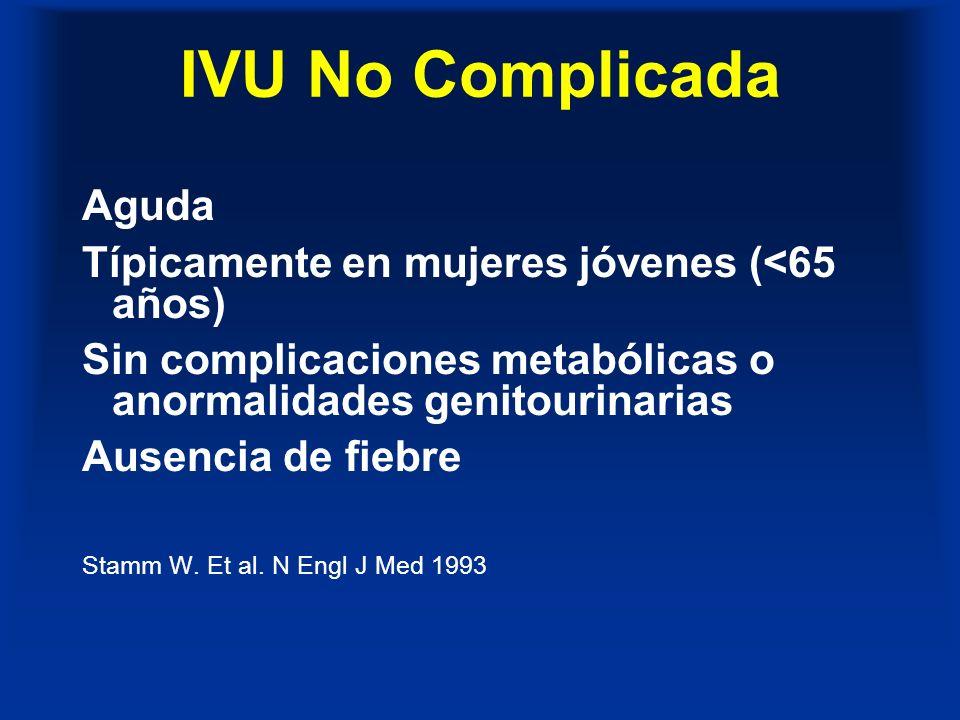 IVU Complicadas Anormalidades del tracto urinario -anatómicas, funcionales o metabólicas Pacientes de más de 65 años de edad IVU en hombres Embarazo Recurrente Amplio espectro de patógenos, patógenos múltiples, patógenos resistentes Stamm W.