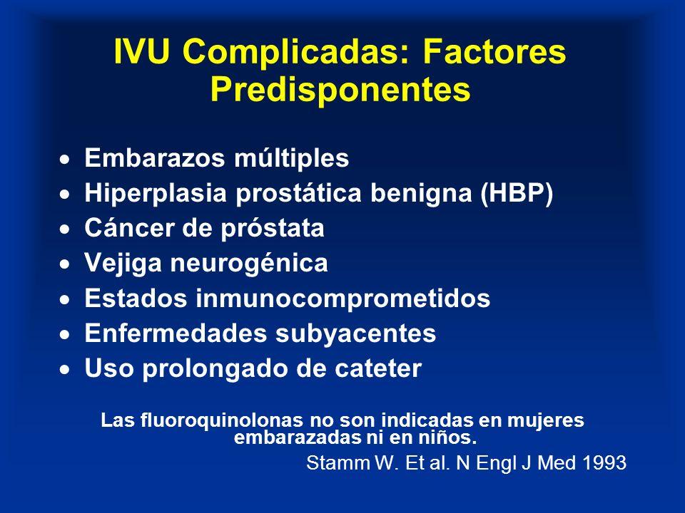 IVU Complicadas: Factores Predisponentes Embarazos múltiples Hiperplasia prostática benigna (HBP) Cáncer de próstata Vejiga neurogénica Estados inmuno