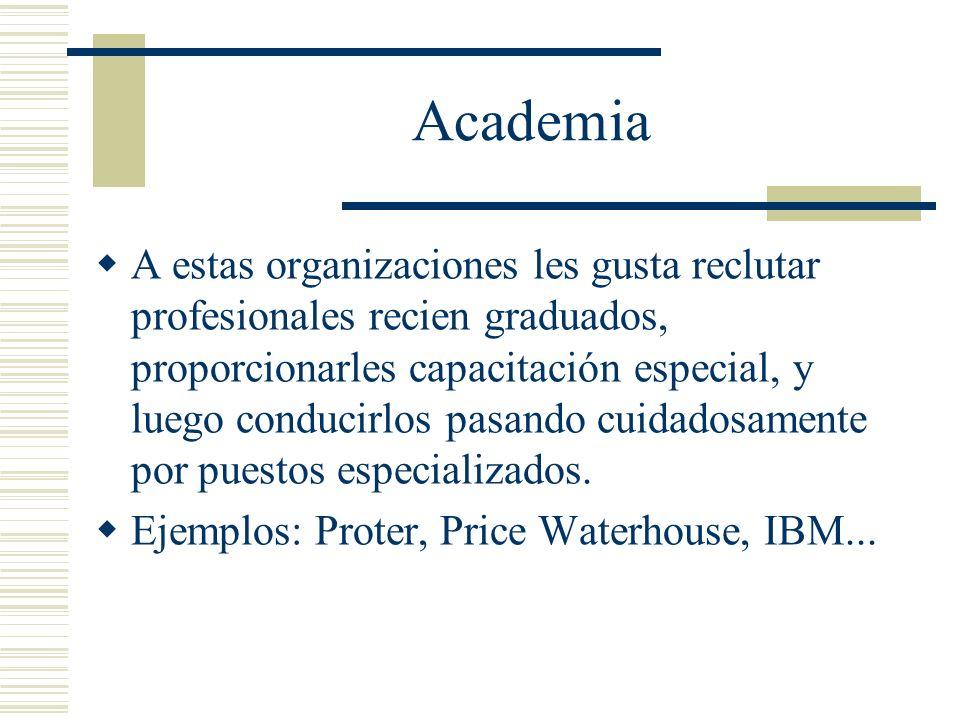 Academia A estas organizaciones les gusta reclutar profesionales recien graduados, proporcionarles capacitación especial, y luego conducirlos pasando