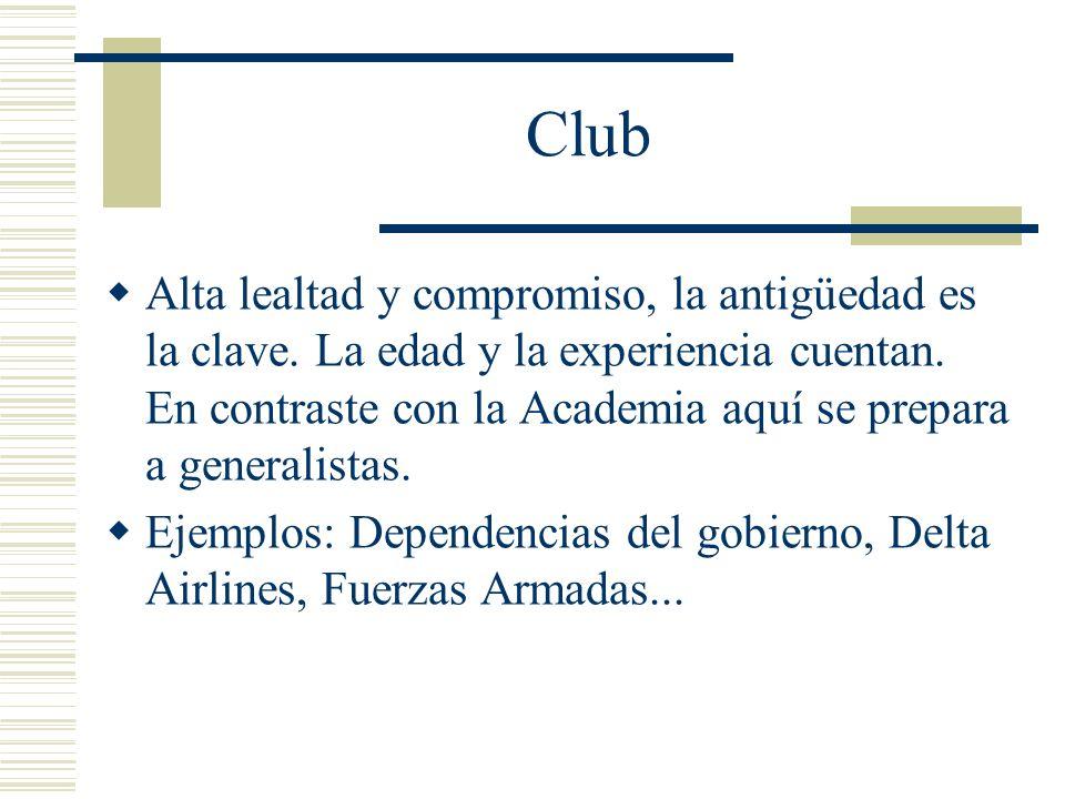 Club Alta lealtad y compromiso, la antigüedad es la clave. La edad y la experiencia cuentan. En contraste con la Academia aquí se prepara a generalist