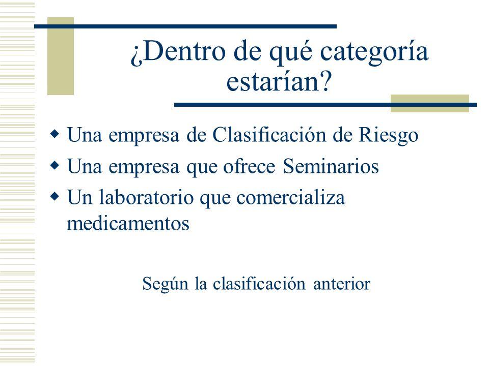 Una empresa de Clasificación de Riesgo Una empresa que ofrece Seminarios Un laboratorio que comercializa medicamentos Según la clasificación anterior