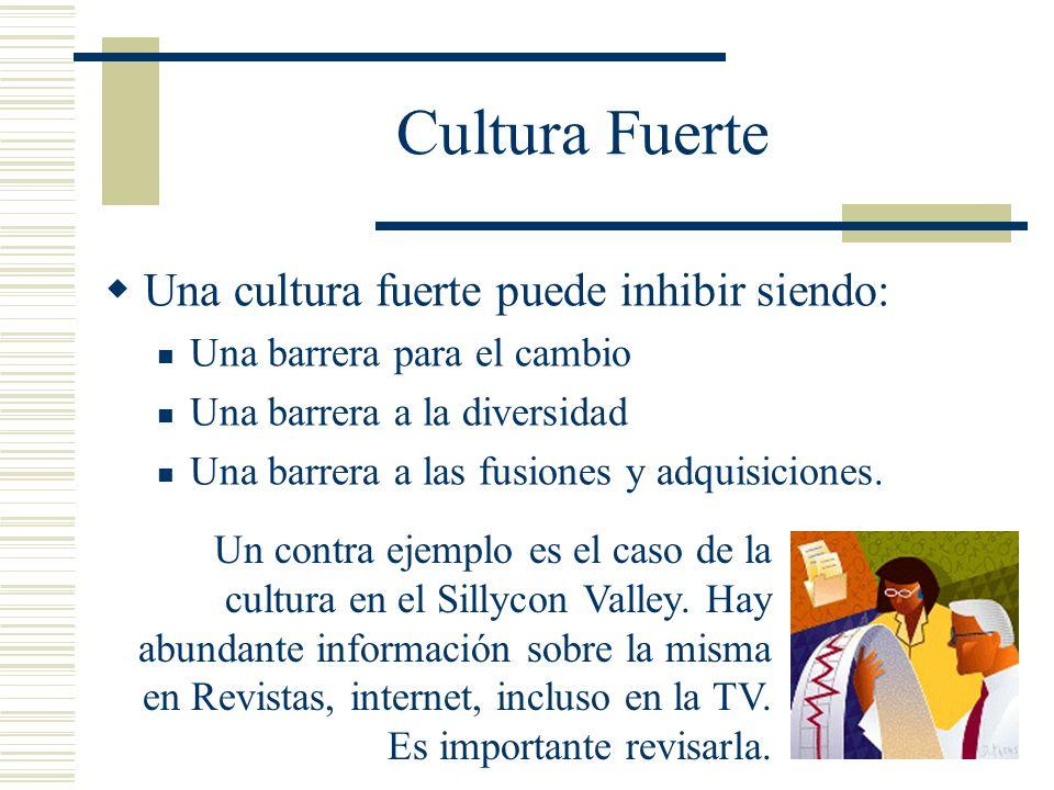 Cultura Fuerte Una cultura fuerte puede inhibir siendo: Una barrera para el cambio Una barrera a la diversidad Una barrera a las fusiones y adquisicio