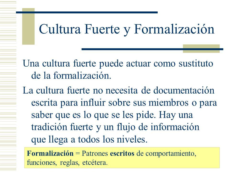 Cultura Fuerte y Formalización Una cultura fuerte puede actuar como sustituto de la formalización. La cultura fuerte no necesita de documentación escr