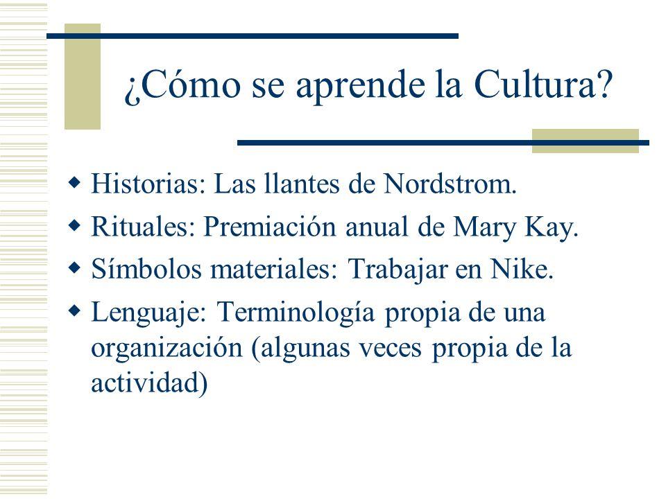 ¿Cómo se aprende la Cultura? Historias: Las llantes de Nordstrom. Rituales: Premiación anual de Mary Kay. Símbolos materiales: Trabajar en Nike. Lengu