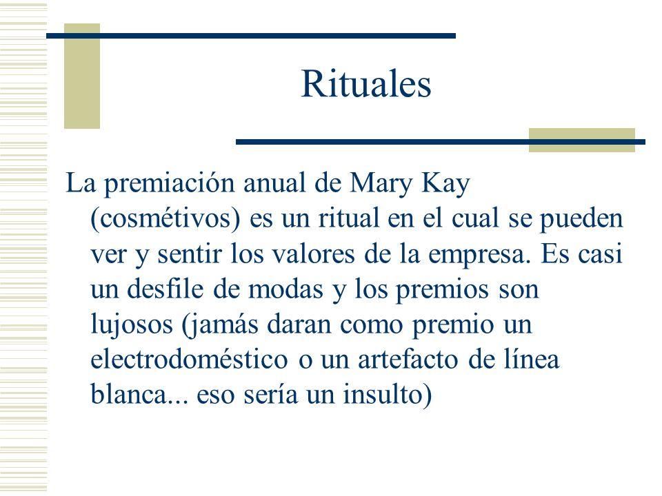 Rituales La premiación anual de Mary Kay (cosmétivos) es un ritual en el cual se pueden ver y sentir los valores de la empresa. Es casi un desfile de