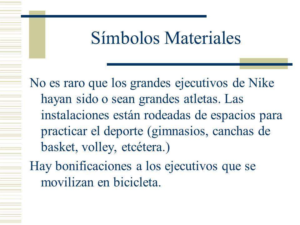 Símbolos Materiales No es raro que los grandes ejecutivos de Nike hayan sido o sean grandes atletas. Las instalaciones están rodeadas de espacios para