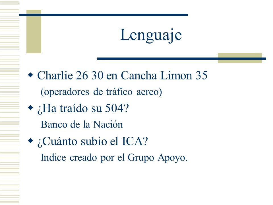 Lenguaje Charlie 26 30 en Cancha Limon 35 (operadores de tráfico aereo) ¿Ha traído su 504? Banco de la Nación ¿Cuánto subio el ICA? Indice creado por