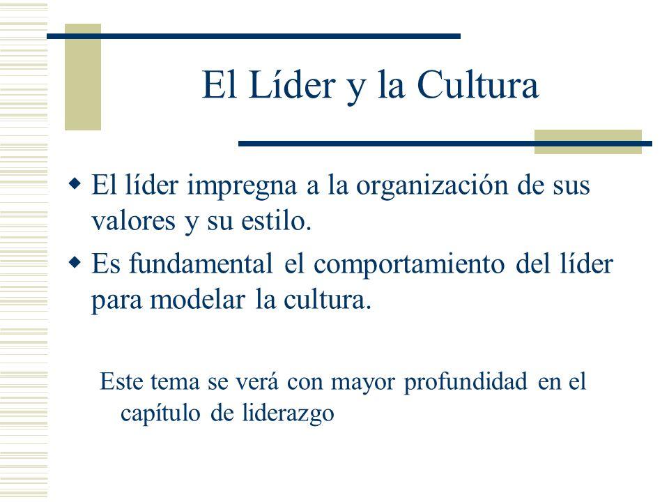 El Líder y la Cultura El líder impregna a la organización de sus valores y su estilo. Es fundamental el comportamiento del líder para modelar la cultu