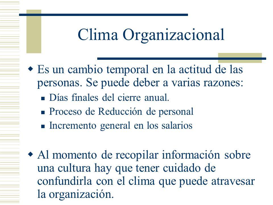 Clima Organizacional Es un cambio temporal en la actitud de las personas. Se puede deber a varias razones: Días finales del cierre anual. Proceso de R