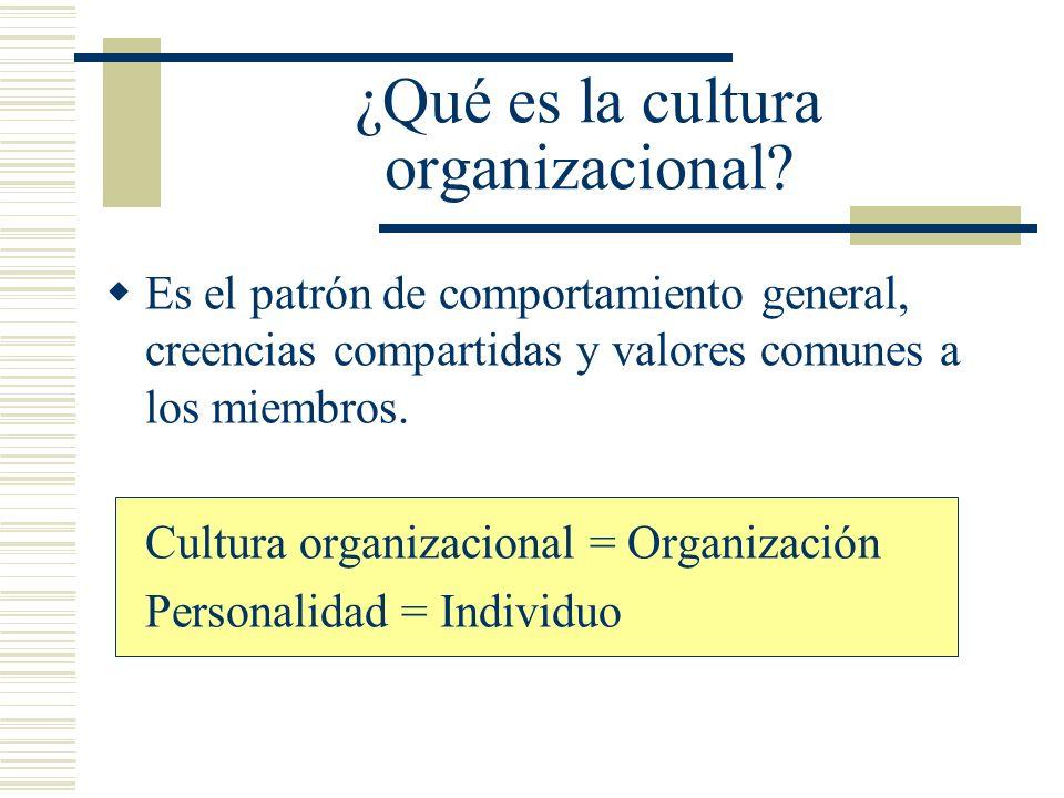 Es el patrón de comportamiento general, creencias compartidas y valores comunes a los miembros. Cultura organizacional = Organización Personalidad = I