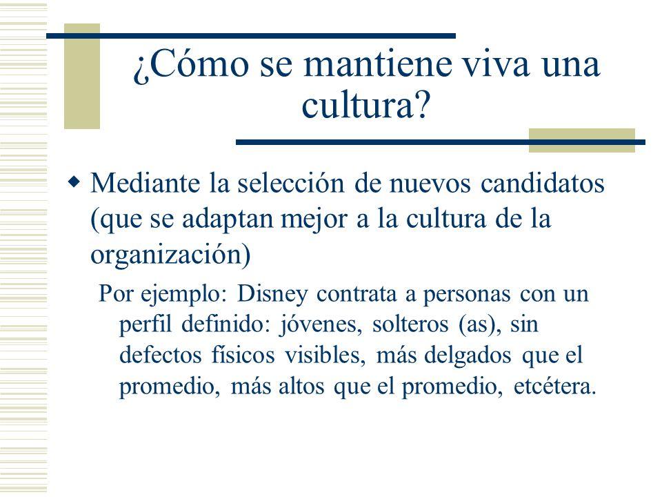 ¿Cómo se mantiene viva una cultura? Mediante la selección de nuevos candidatos (que se adaptan mejor a la cultura de la organización) Por ejemplo: Dis