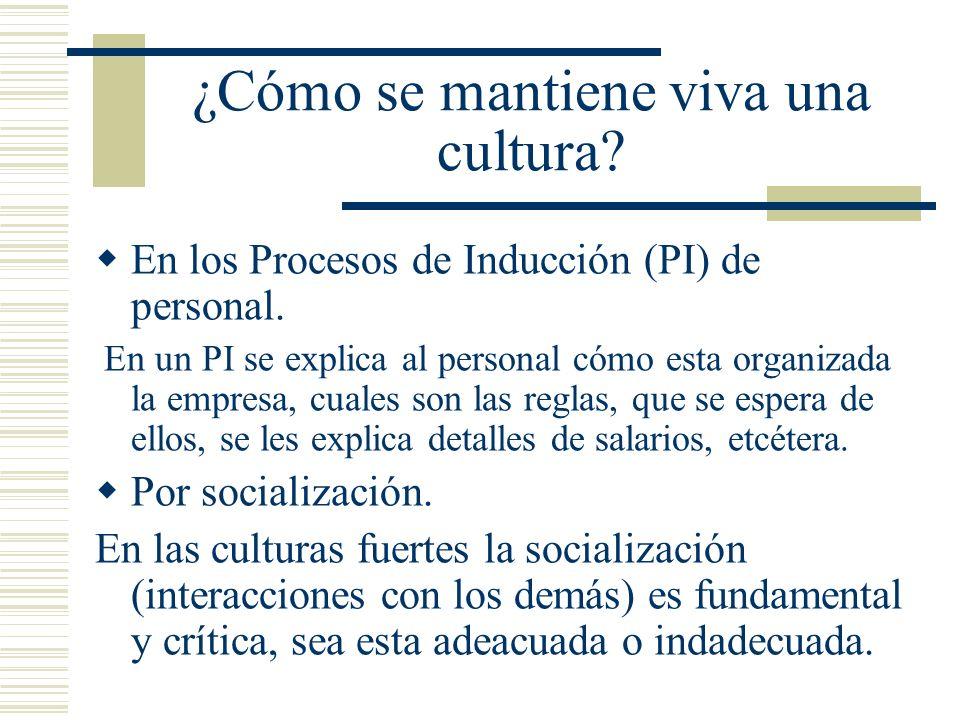 ¿Cómo se mantiene viva una cultura? En los Procesos de Inducción (PI) de personal. En un PI se explica al personal cómo esta organizada la empresa, cu