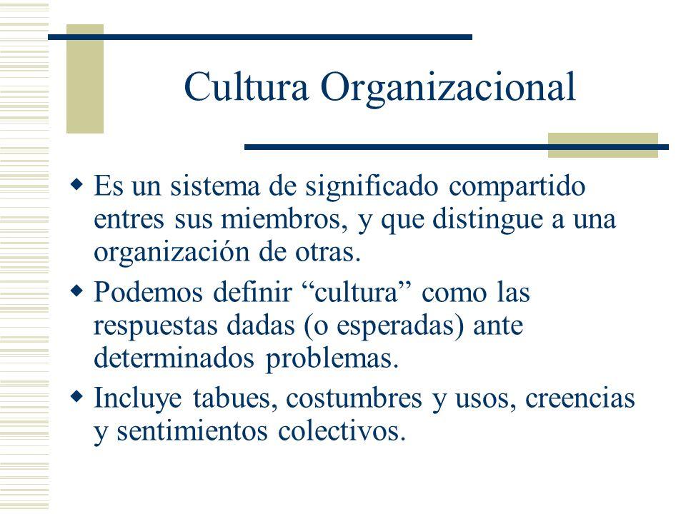 Es un sistema de significado compartido entres sus miembros, y que distingue a una organización de otras. Podemos definir cultura como las respuestas