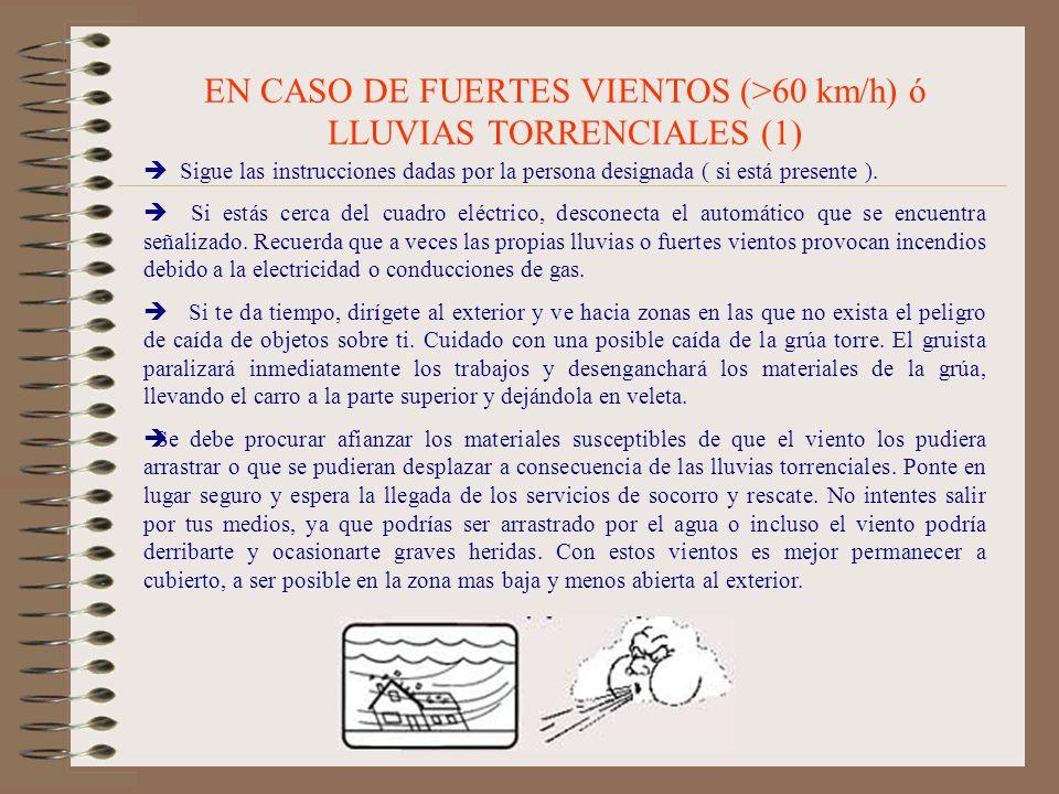 EN CASO DE FUERTES VIENTOS (>60 km/h) ó LLUVIAS TORRENCIALES (1) Sigue las instrucciones dadas por la persona designada ( si está presente ). Si estás