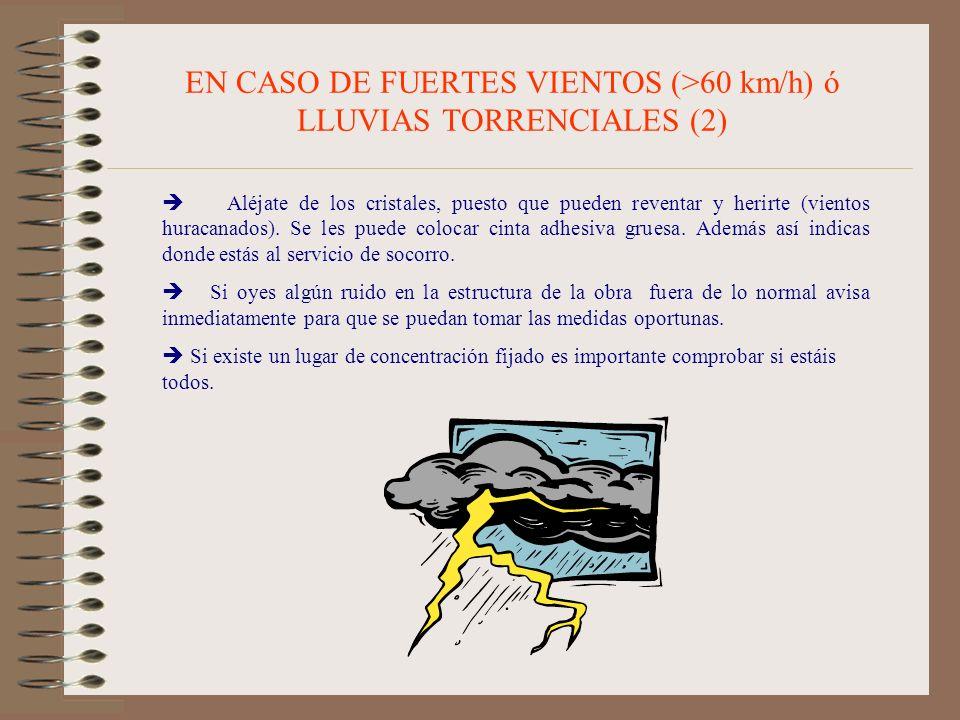 EN CASO DE FUERTES VIENTOS (>60 km/h) ó LLUVIAS TORRENCIALES (2) Aléjate de los cristales, puesto que pueden reventar y herirte (vientos huracanados).