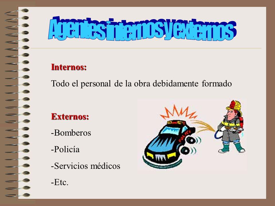 Internos: Todo el personal de la obra debidamente formadoExternos: -Bomberos -Policía -Servicios médicos -Etc.