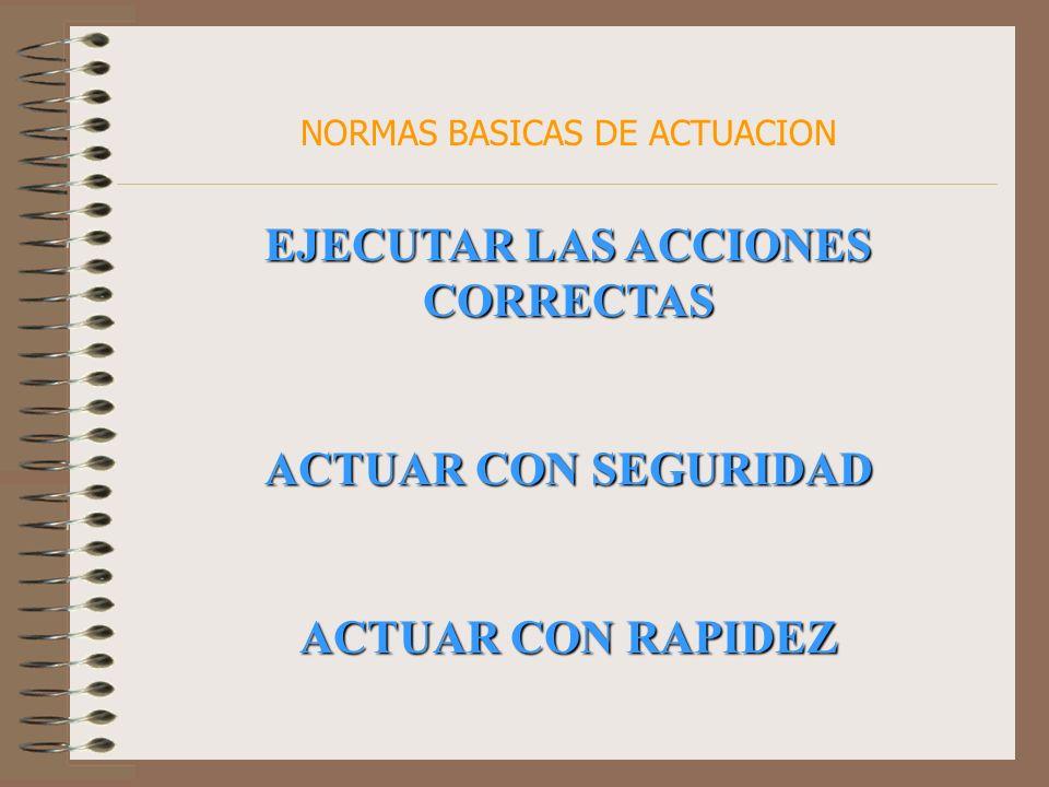 NORMAS BASICAS DE ACTUACION EJECUTAR LAS ACCIONES CORRECTAS ACTUAR CON SEGURIDAD ACTUAR CON RAPIDEZ