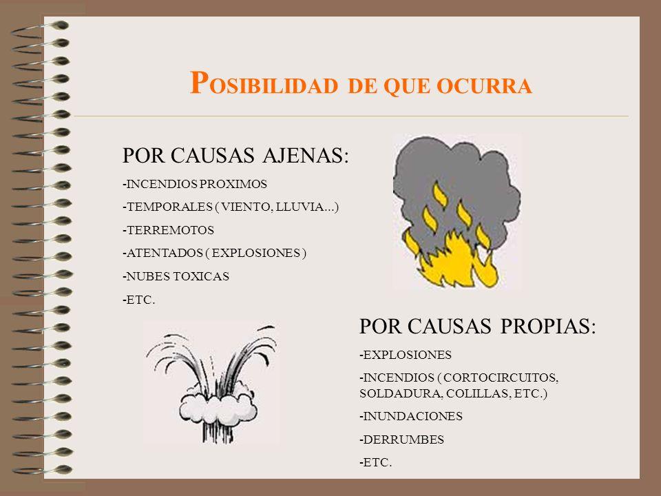 P OSIBILIDAD DE QUE OCURRA POR CAUSAS AJENAS: -INCENDIOS PROXIMOS -TEMPORALES ( VIENTO, LLUVIA...) -TERREMOTOS -ATENTADOS ( EXPLOSIONES ) -NUBES TOXIC