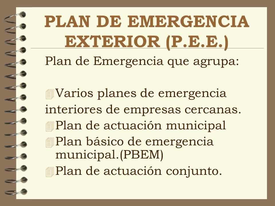 PLAN DE EMERGENCIA EXTERIOR (P.E.E.) Plan de Emergencia que agrupa: 4 Varios planes de emergencia interiores de empresas cercanas. 4 Plan de actuación