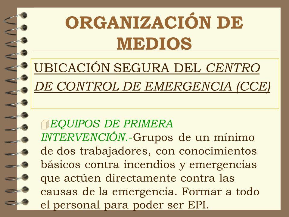 ORGANIZACIÓN DE MEDIOS UBICACIÓN SEGURA DEL CENTRO DE CONTROL DE EMERGENCIA (CCE) 4 EQUIPOS DE PRIMERA INTERVENCIÓN.-Grupos de un mínimo de dos trabaj