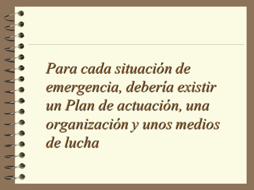 Para cada situación de emergencia, debería existir un Plan de actuación, una organización y unos medios de lucha