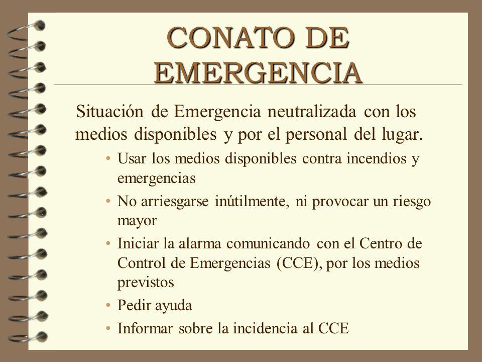 CONATO DE EMERGENCIA Situación de Emergencia neutralizada con los medios disponibles y por el personal del lugar. Usar los medios disponibles contra i