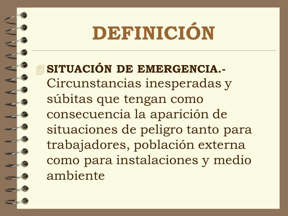 DEFINICIÓN 4 SITUACIÓN DE EMERGENCIA.- Circunstancias inesperadas y súbitas que tengan como consecuencia la aparición de situaciones de peligro tanto