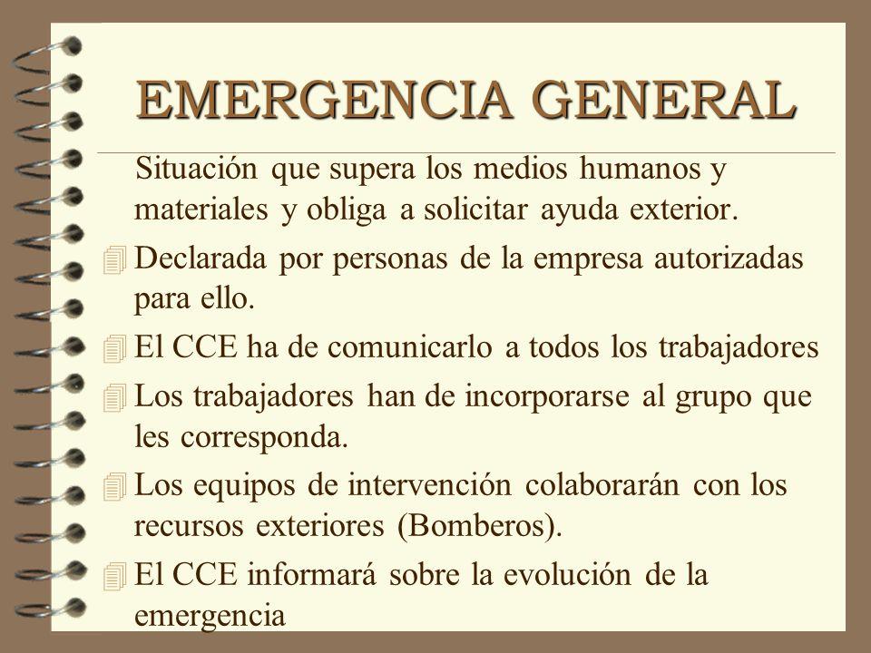 EMERGENCIA GENERAL Situación que supera los medios humanos y materiales y obliga a solicitar ayuda exterior. 4 Declarada por personas de la empresa au