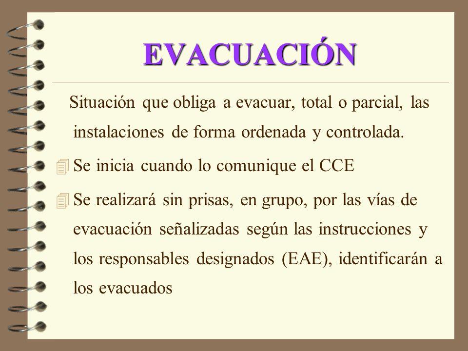 EVACUACIÓN Situación que obliga a evacuar, total o parcial, las instalaciones de forma ordenada y controlada. 4 Se inicia cuando lo comunique el CCE 4