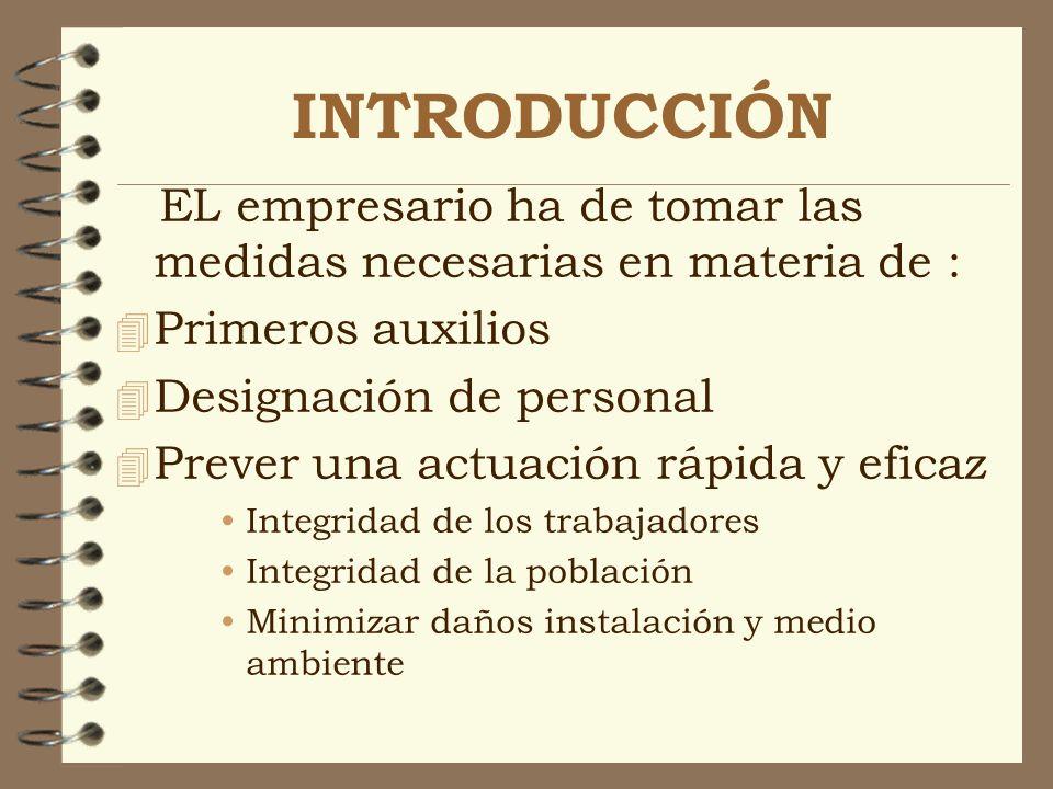 INTRODUCCIÓN EL empresario ha de tomar las medidas necesarias en materia de : 4 Primeros auxilios 4 Designación de personal 4 Prever una actuación ráp
