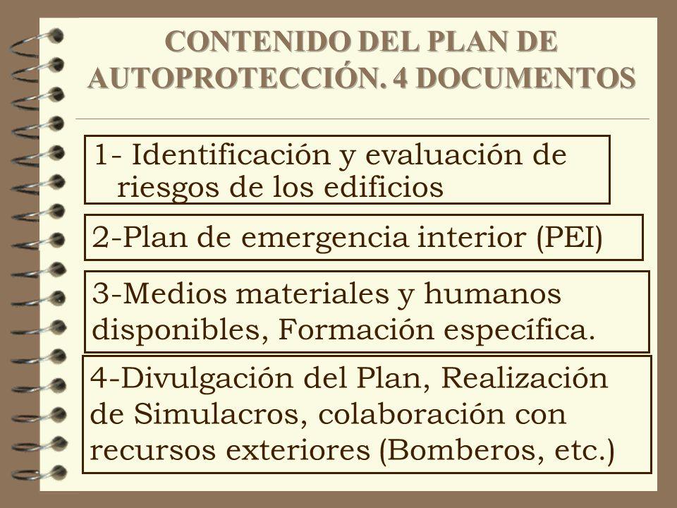 1- Identificación y evaluación de riesgos de los edificios 2-Plan de emergencia interior (PEI) 3-Medios materiales y humanos disponibles, Formación es
