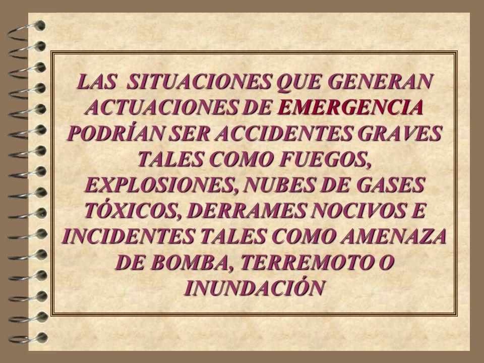 LAS SITUACIONES QUE GENERAN ACTUACIONES DE EMERGENCIA PODRÍAN SER ACCIDENTES GRAVES TALES COMO FUEGOS, EXPLOSIONES, NUBES DE GASES TÓXICOS, DERRAMES N