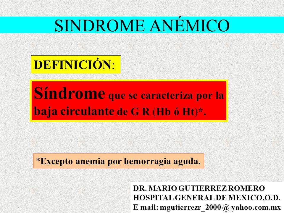 DEFINICIÓN: Síndrome que se caracteriza por la baja circulante de G R (Hb ó Ht)*.
