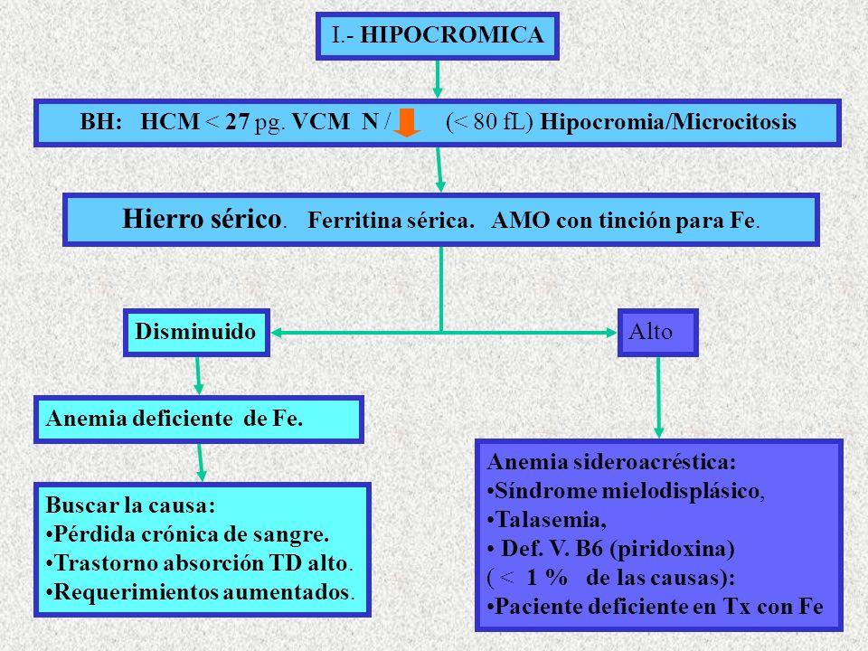 I.- HIPOCROMICA BH: HCM < 27 pg.VCM N / (< 80 fL) Hipocromia/Microcitosis Hierro sérico.