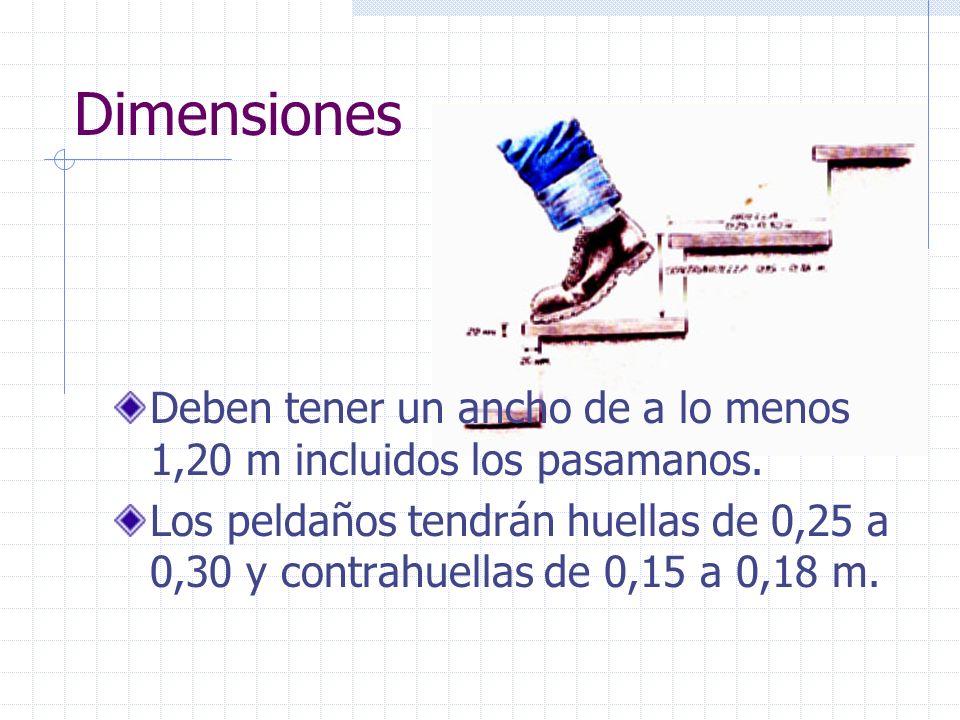 Dimensiones Deben tener un ancho de a lo menos 1,20 m incluidos los pasamanos. Los peldaños tendrán huellas de 0,25 a 0,30 y contrahuellas de 0,15 a 0