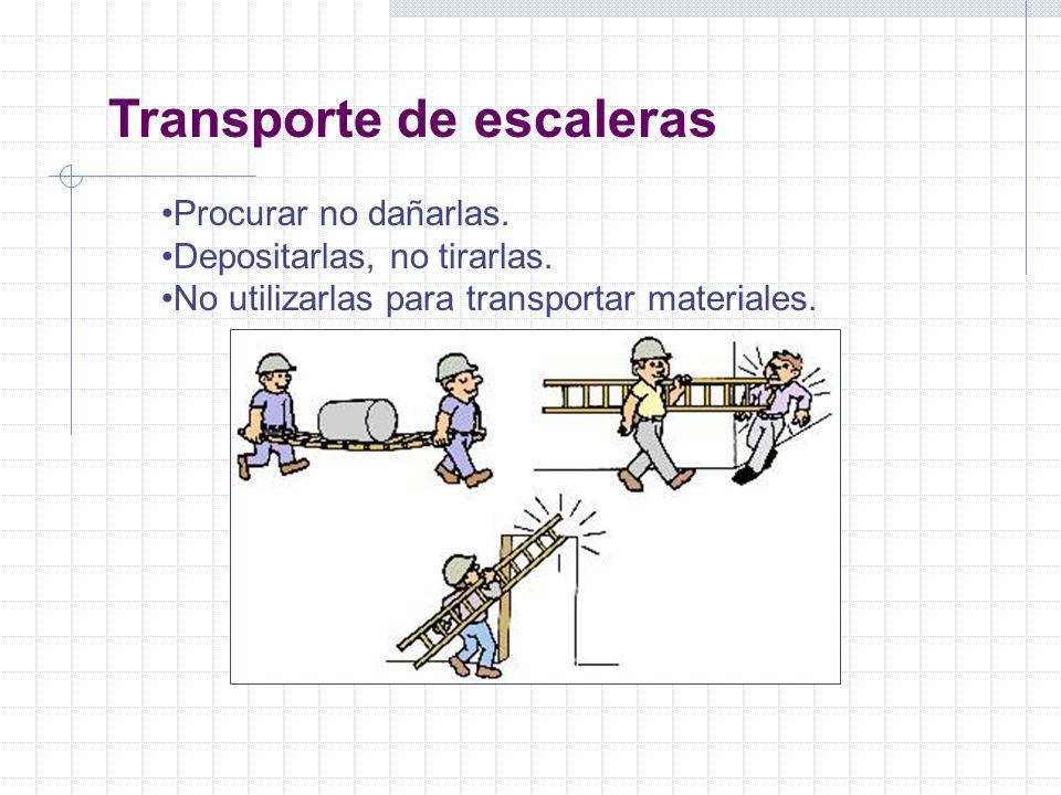 Transporte de escaleras Procurar no dañarlas. Depositarlas, no tirarlas. No utilizarlas para transportar materiales.