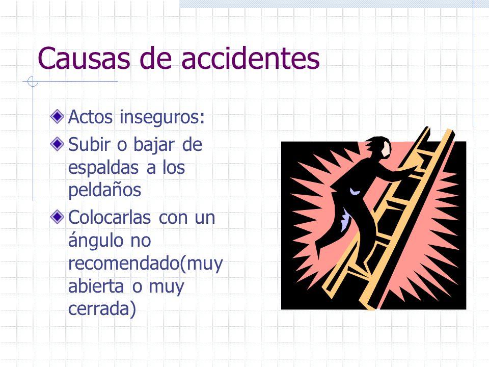 Causas de accidentes Actos inseguros: Subir o bajar de espaldas a los peldaños Colocarlas con un ángulo no recomendado(muy abierta o muy cerrada)