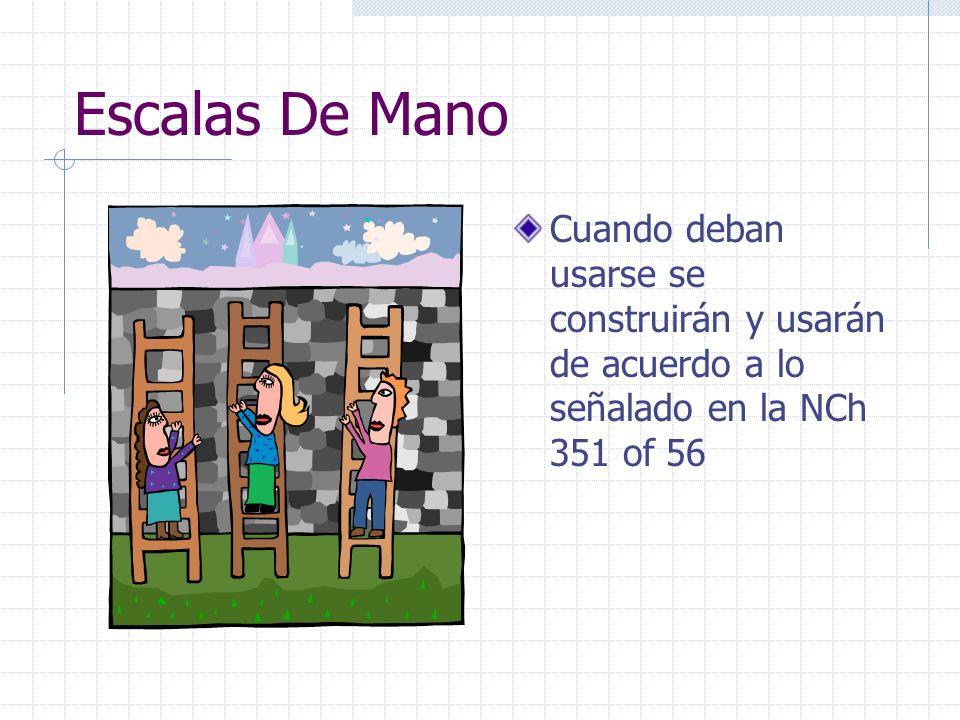 Escalas De Mano Cuando deban usarse se construirán y usarán de acuerdo a lo señalado en la NCh 351 of 56