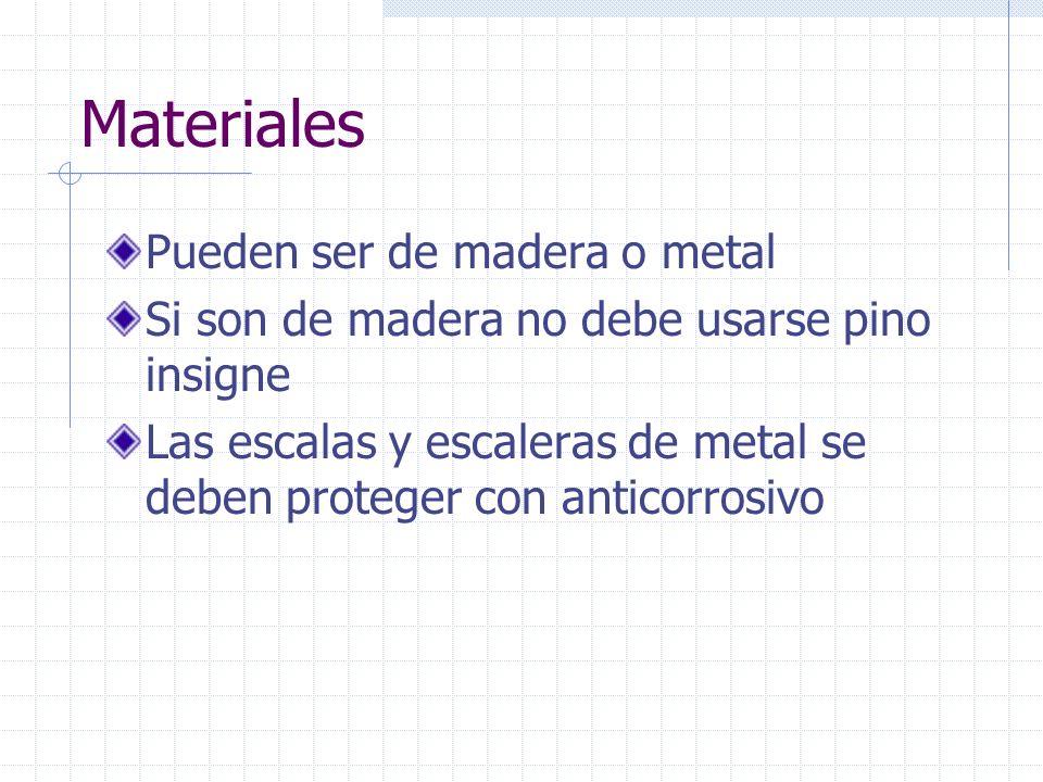 Materiales Pueden ser de madera o metal Si son de madera no debe usarse pino insigne Las escalas y escaleras de metal se deben proteger con anticorros