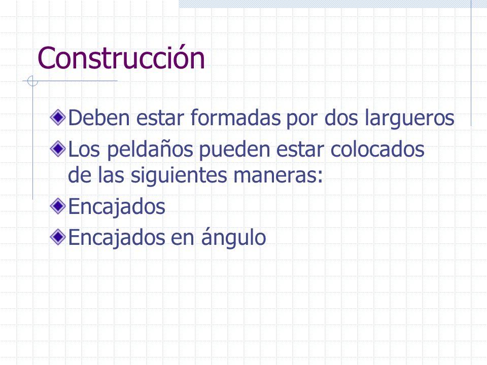 Construcción Deben estar formadas por dos largueros Los peldaños pueden estar colocados de las siguientes maneras: Encajados Encajados en ángulo