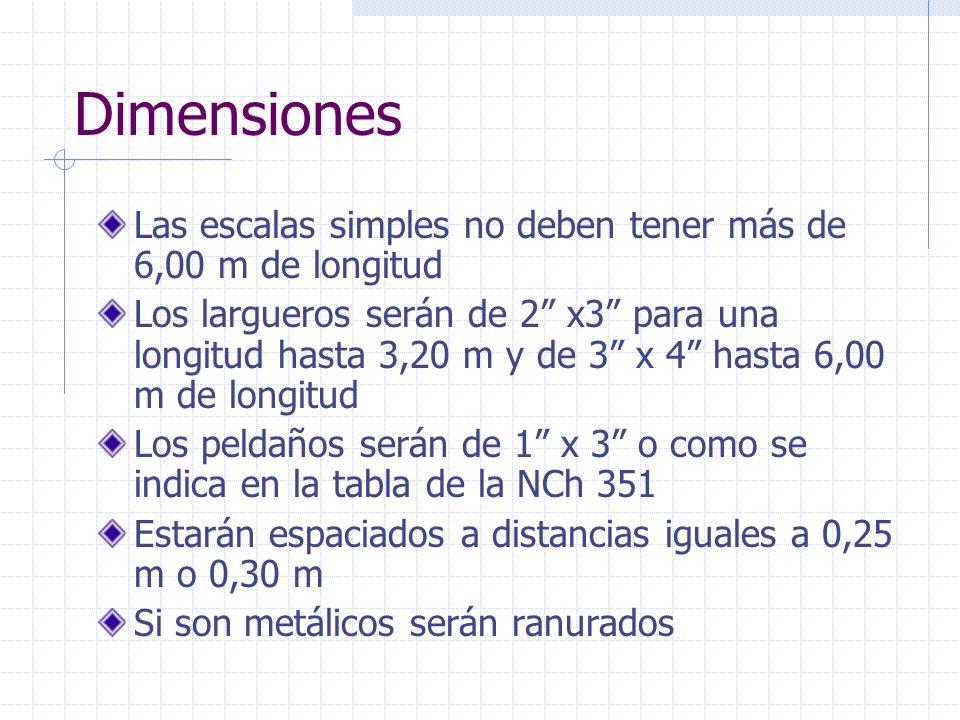 Dimensiones Las escalas simples no deben tener más de 6,00 m de longitud Los largueros serán de 2 x3 para una longitud hasta 3,20 m y de 3 x 4 hasta 6