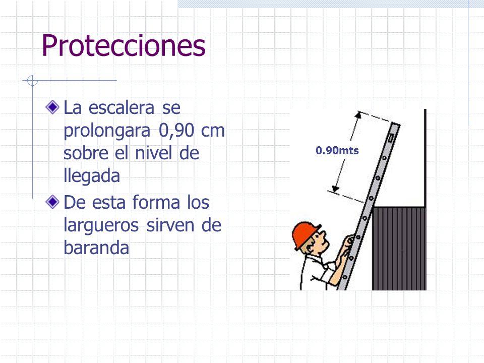 Protecciones La escalera se prolongara 0,90 cm sobre el nivel de llegada De esta forma los largueros sirven de baranda 0.90mts