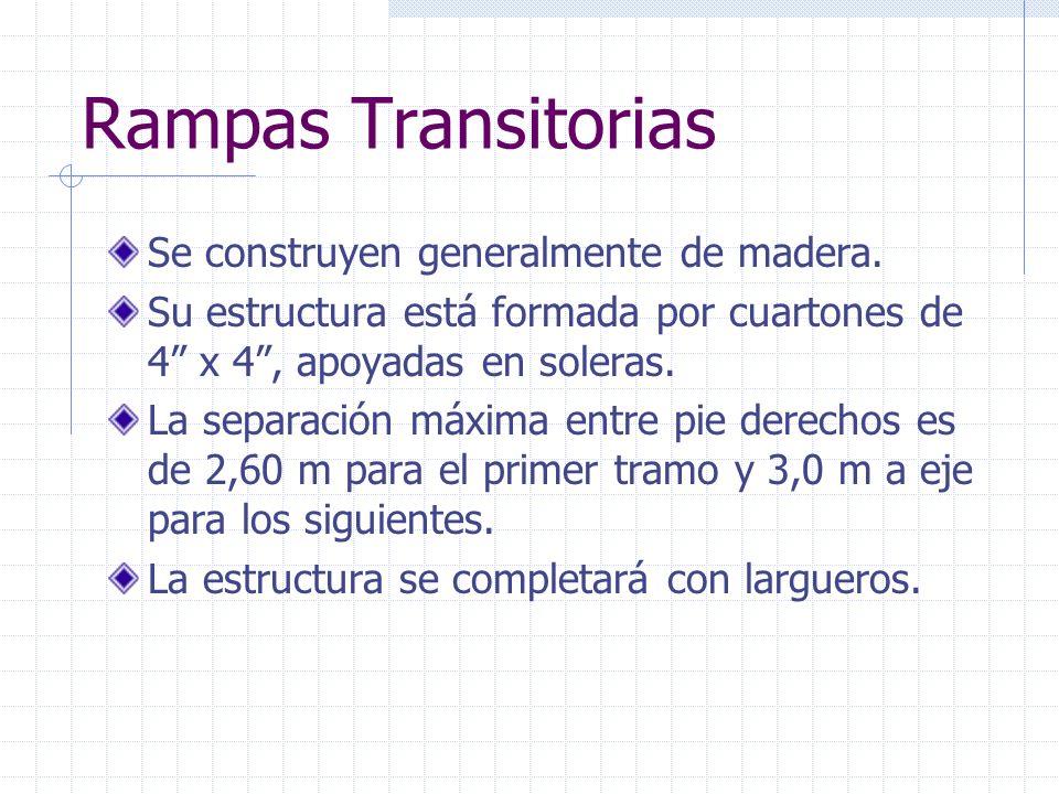 Rampas Transitorias Se construyen generalmente de madera. Su estructura está formada por cuartones de 4 x 4, apoyadas en soleras. La separación máxima