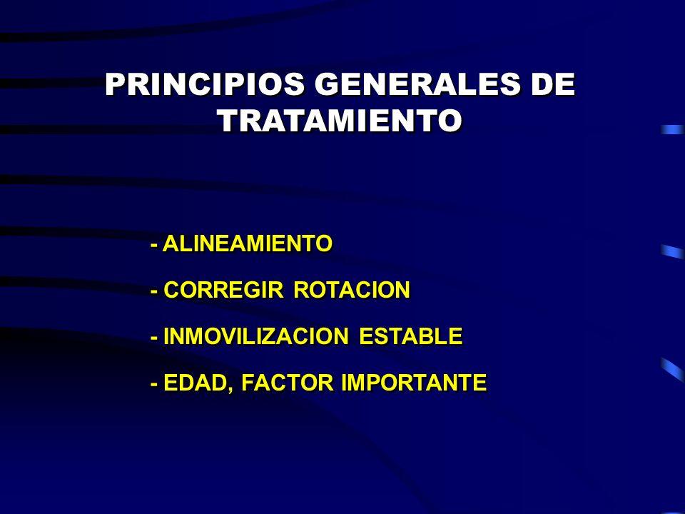 PRINCIPIOS GENERALES DE TRATAMIENTO - ALINEAMIENTO - CORREGIR ROTACION - INMOVILIZACION ESTABLE - EDAD, FACTOR IMPORTANTE - ALINEAMIENTO - CORREGIR RO