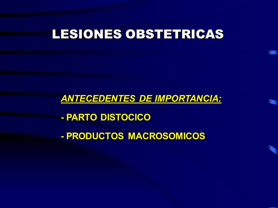 LESIONES OBSTETRICAS ANTECEDENTES DE IMPORTANCIA: - PARTO DISTOCICO - PRODUCTOS MACROSOMICOS ANTECEDENTES DE IMPORTANCIA: - PARTO DISTOCICO - PRODUCTO